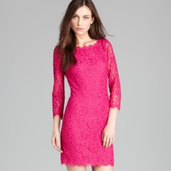 Diane Von Furstenberg Dresses | Dvf Zarita Lace Dress Berry Pink ...